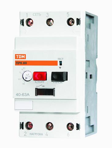 Пускатель ПРК80-6 In=6A Ir=4-6A Ue 660В TDM