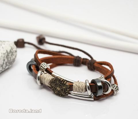 BL282 Мужской кожаный браслет с текстильными и металлическими вставками