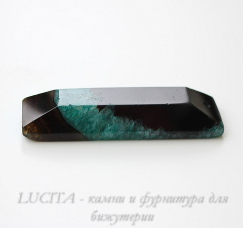 Подвеска Агат с Кварцем (цвет - черный+зеленый) 72х22х11 мм ()