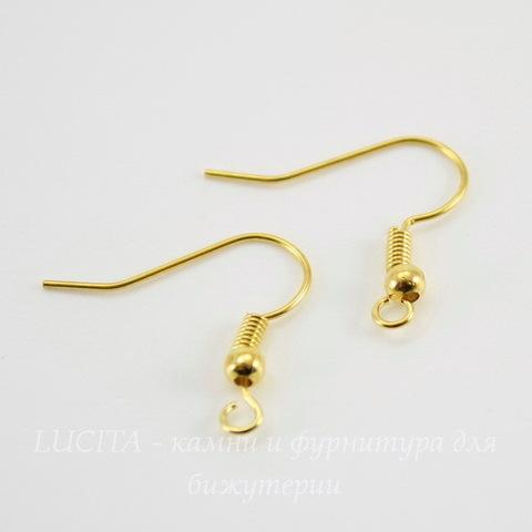 Швензы - крючки с шариком и пружинкой, 18 мм (цвет - золото), 5 пар
