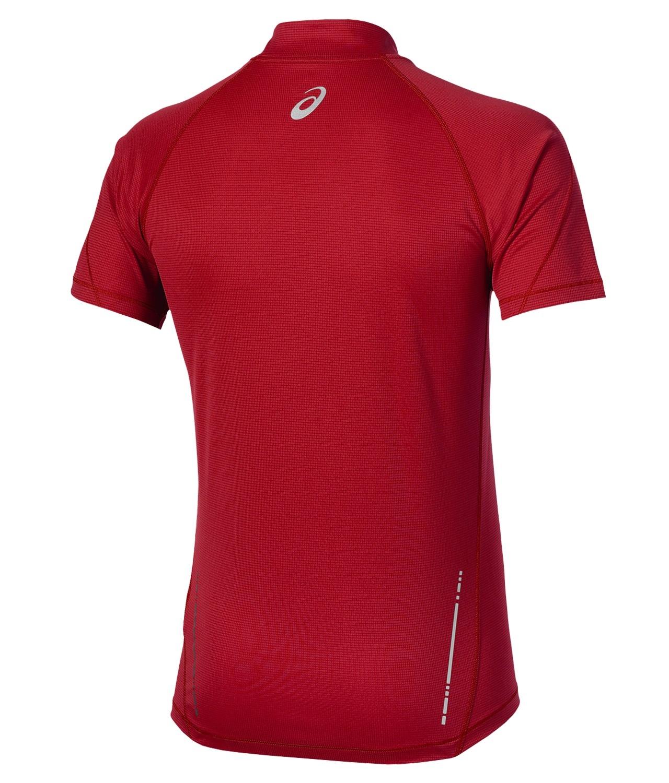 Мужская футболка для бега Asics SS Zip Top (110409 6015) красная фото