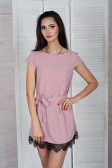 Соло. Легкое летнее платье с кружевом. Пепел розы