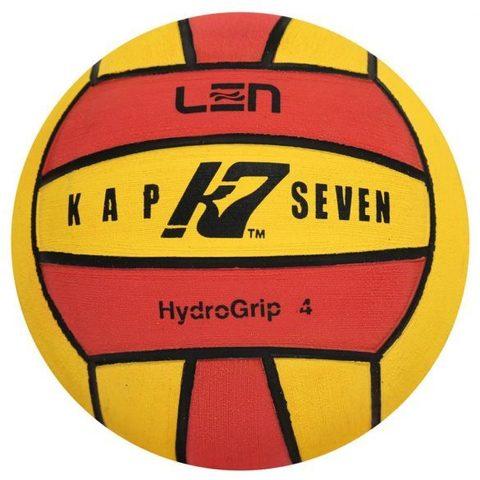 Официальный ватерпольный мяч KAP7 Official LEN + FINA Game Ball K7 4 yellow-red Размер 4 для женщин/юниоров арт.B-K7-LEN-4-0108