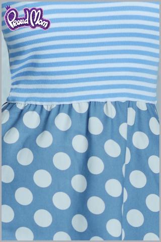 Платье для кормящих Морячка голубой горошек