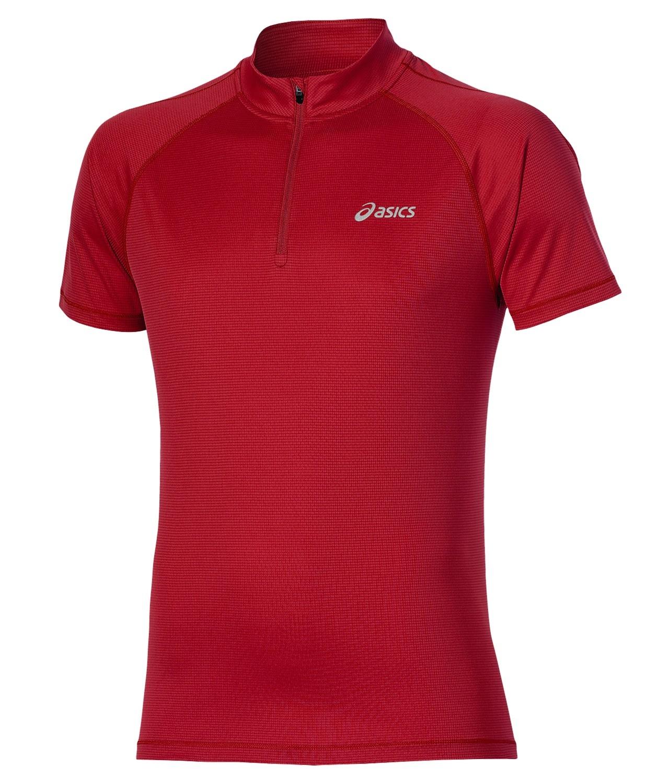 Мужская беговая футболка Asics SS Zip Top (110409 6015) красная фото