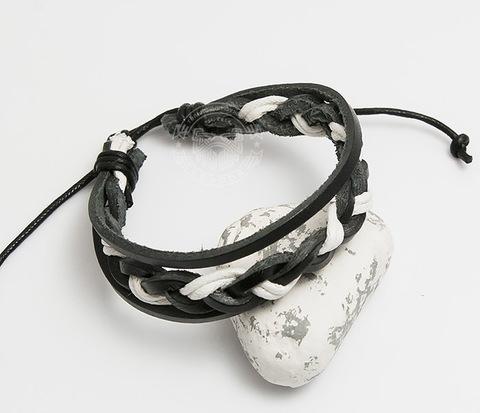 SL0087-KWH Мужской браслет из черной кожи и белого шнура