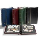 Кляссер для марок PREMIUM A4, 32 черных страницы, с шубером, кожаная обложка, синий