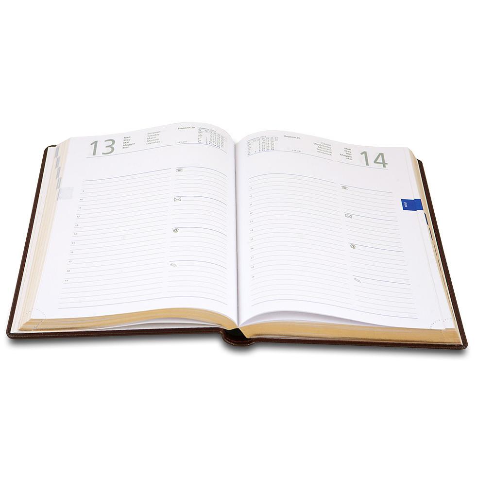 Ежедневник Letts Global Deluxe 2017, A5 (148 х 210), бургунди, натур.кожа, срез позолоченный
