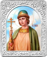 Святой Глеб. Маленькая икона в серебряной раме.