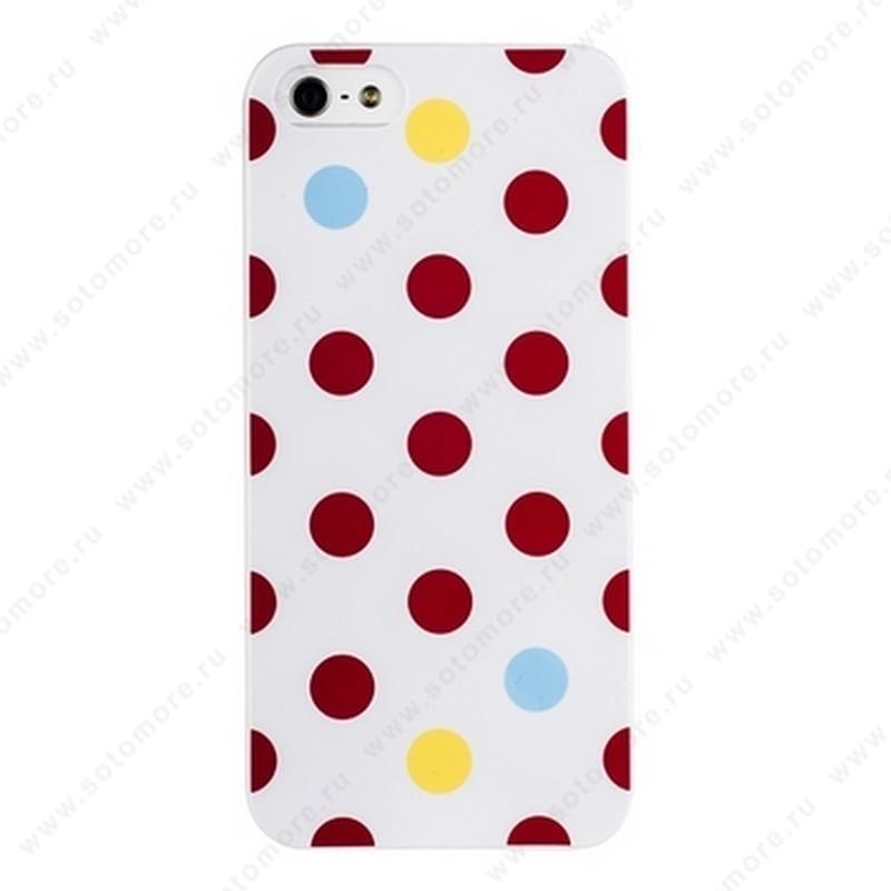 Накладка iPsky для iPhone SE/ 5s/ 5C/ 5 горошек белая