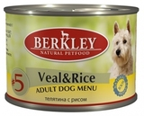 BERKLEY ADULT Veal & Rice Консервы для собак №5 Телятина с рисом 6х200 г. (75008)