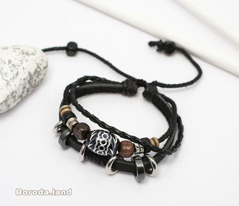 BL283 Необычный мужской браслет из кожи, металла и дерева