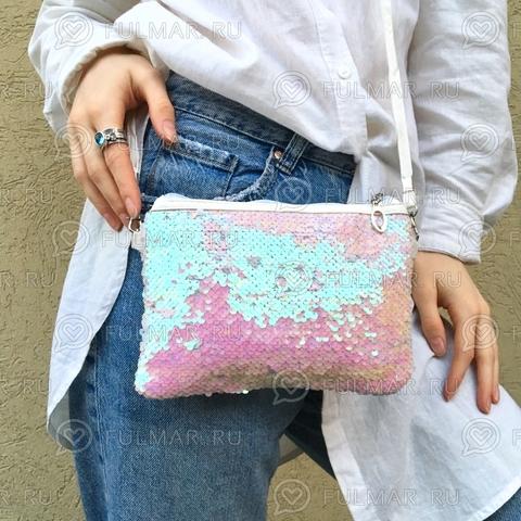 Клатч-сумочка на молнии детская с пайетками меняющая цвет Перламутровый-Белый