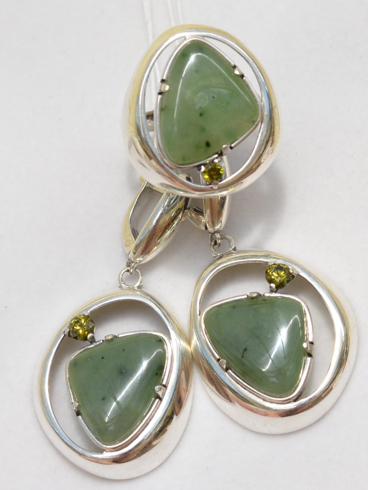 Аглая (кольцо + серьги из серебра)