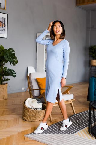 Платье Виктори Небесно-голубое с секретом для кормления