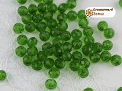 Бусины Хрустальные зеленые овальные