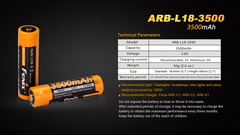 Аккумулятор Li-ion 18650 Fenix 3.6V 3500mAh