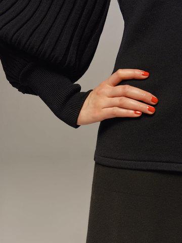 Женский джемпер черного цвета из 100% шерсти - фото 5