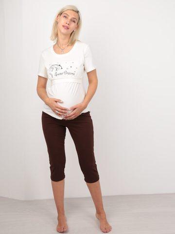 Euromama/Евромама. Пижама для беременных и кормящих футболка и капри, шоколад