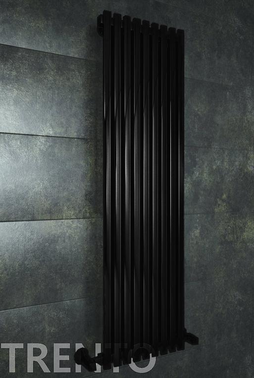 Trento E - электрический дизайн полотенцесушитель черного цвета.