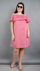 Бали. Модное платье с воланом большие размеры. Красная полоса.