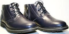 Мужские зимние ботинки на меху классические, пепельно синие Broni