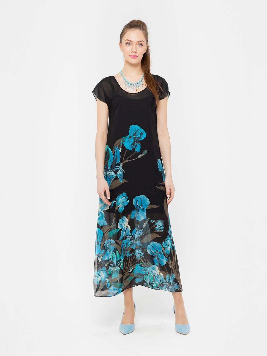 Платье З035-168 - Длинное платье из прозрачного шифона с глубокими разрезами по бокам и округлым вырезом. Яркий, цветочный принт на черном фоне смотрится эффектно и стильно. Подойдет как для повседневного образа, так и для торжественного мероприятия. В комплекте трикотажное, нижнее платье на бретелях.