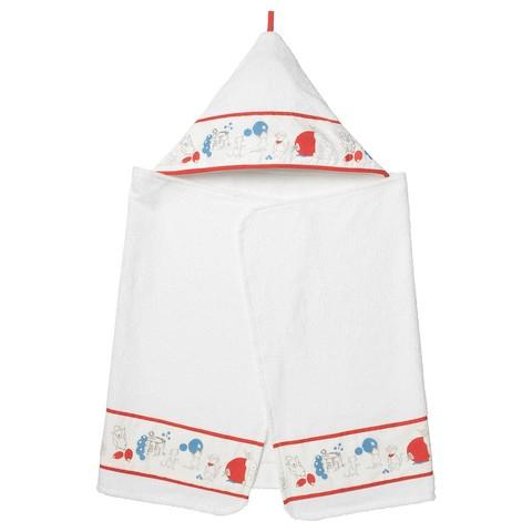 РЁДХАКЕ Полотенце с капюшоном, орнамент «кролики/черника», 60x125 см