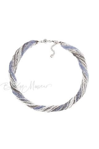 Бисерное ожерелье из 24 нитей цвет серо-синий