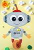"""013_8269 Большая  смешанная аппликация """"Робот"""""""