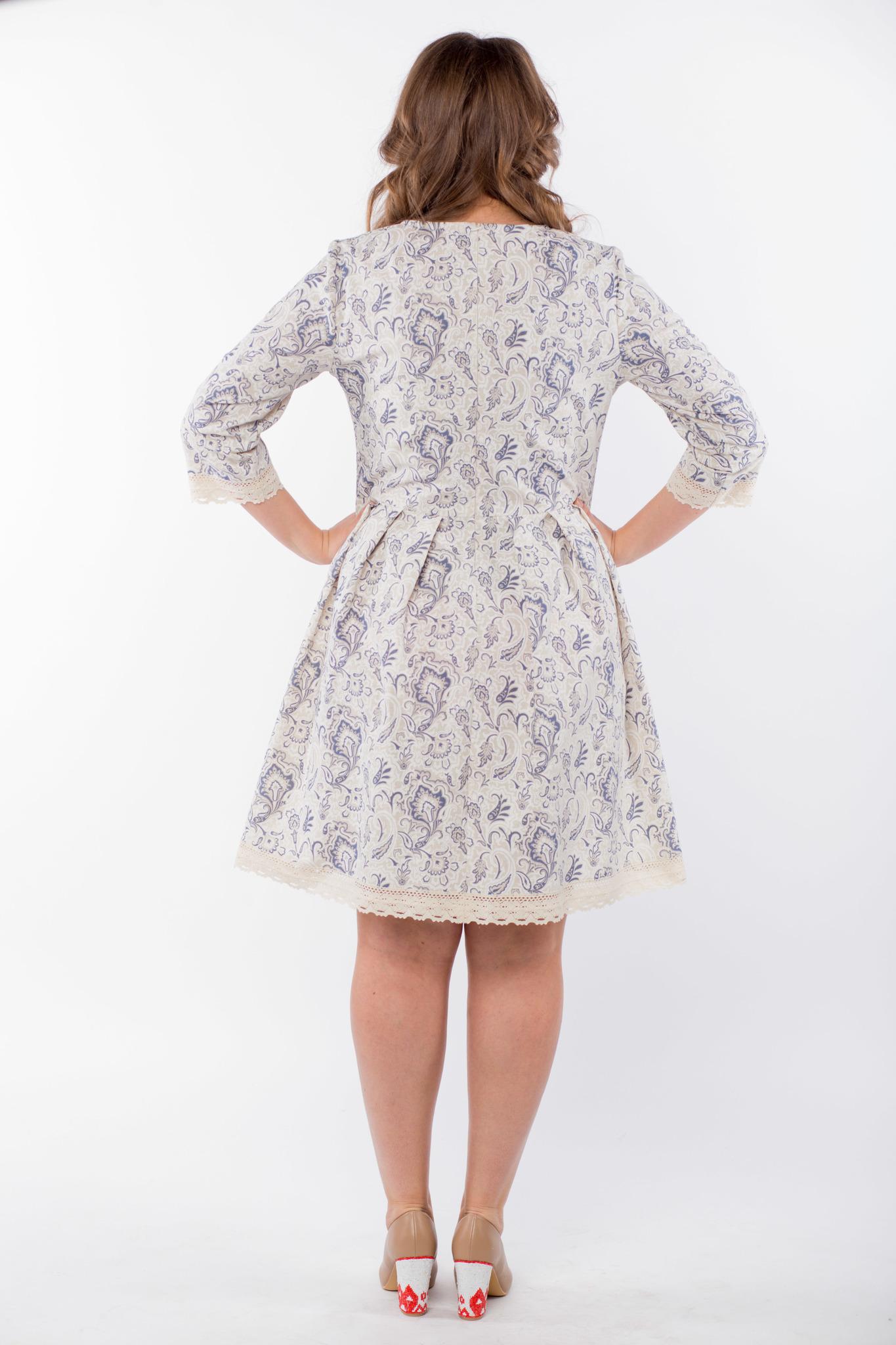 Платье льняное Первоцвет 50 размер вид сзади