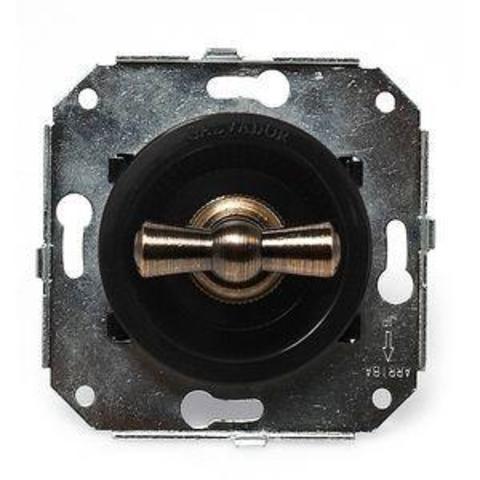 Выключатель двух позиционный для внутреннего монтажа проходной. Цвет Чёрный. Salvador. CL11BL