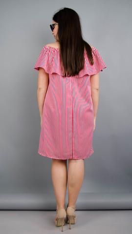 Балі. Модне плаття з воланом великих розмірів. Червона смужка.