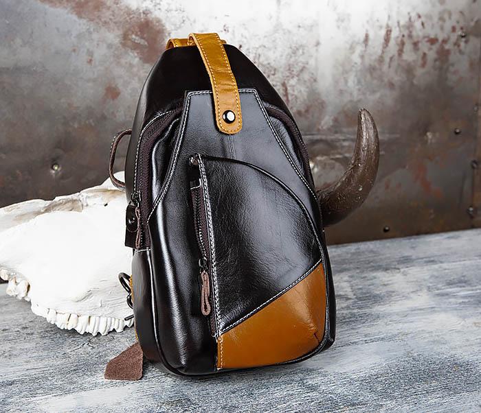 BAG448-1 Небольшой кожаный рюкзак с одной лямкой фото 01