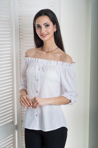 Мика. Молодежная оригинальная летняя блуза. Белый