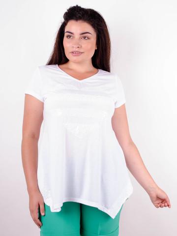 Арнея. Нарядна футболка великих розмірів. Білий.