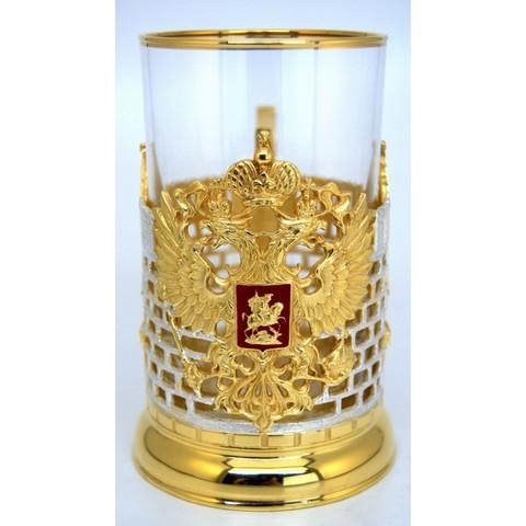 Подстаканник Герб РФ с гербовой ложечкой