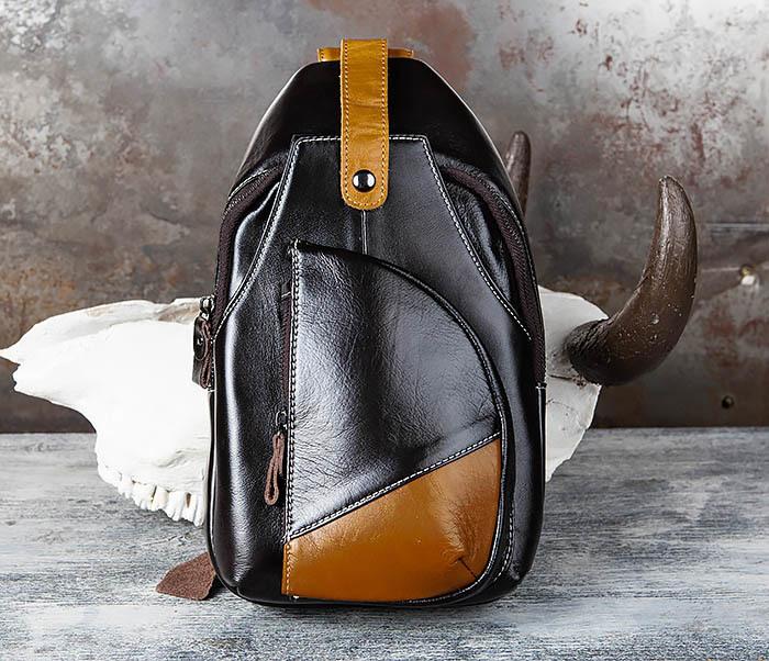 BAG448-1 Небольшой кожаный рюкзак с одной лямкой фото 02