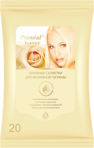Bumfa Group Premial Салфетки влажные для интимной гигиены женские с молочной кислотой 20шт
