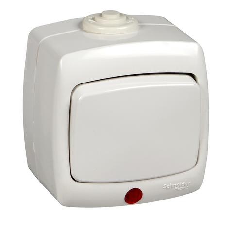 Выключатель/переключатель одноклавишный с подсветкой на 2 направления(проходной) IP44 - 6 А 250 В. Цвет Белый. Schneider Electric(Шнайдер электрик). Rondo(Рондо). VA66-123B-BI