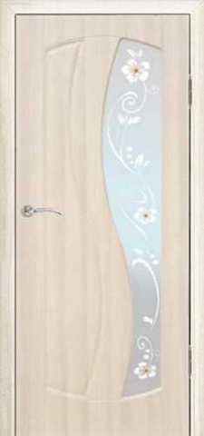 Дверь Сибирь Профиль Аврора, цвет беленый дуб, остекленная