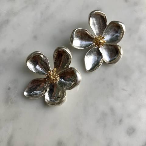 Серьги Пиона, серебряный цвет