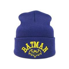 Вязаная шапка с вышивкой Бэтмен (Batman) синяя фото 1