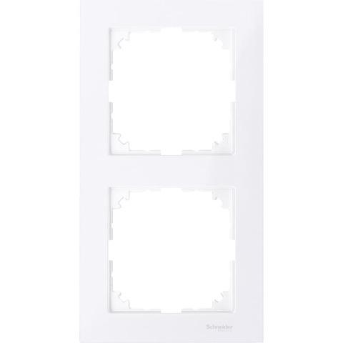 Рамка на 2 поста. Цвет Бриллиантовый белый. Merten. M-Pure System M. MTN4020-3625