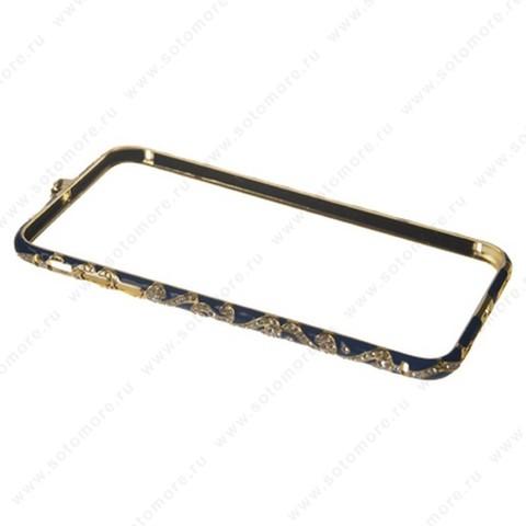 Бампер Heimeiren металический для iPhone 6s Plus/ 6 Plus стразы золото с синим