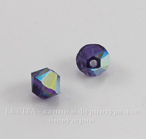 5328 Бусина - биконус Сваровски Purple Velvet AB 4 мм, 10 штук