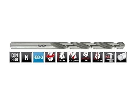 Сверло по металлу ц/x 4,5x80/47мм DIN338 h8 5xD HSS-G 118° Ruko 214045