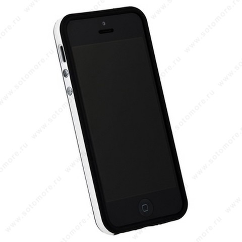 Бампер для iPhone SE/ 5s/ 5C/ 5 черный с белой полосой