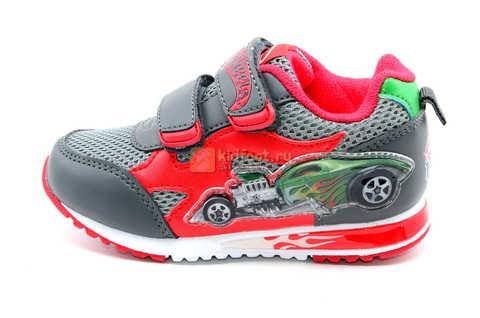 Светящиеся кроссовки Хот Вилс (Hot Wheels) на липучках для мальчиков, цвет серый красный. Изображение 3 из 14.