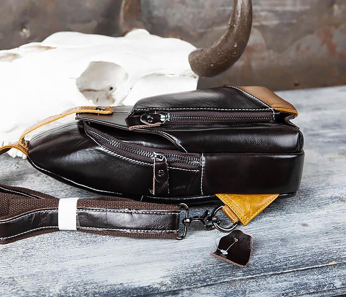 BAG448-1 Небольшой кожаный рюкзак с одной лямкой фото 04